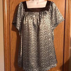 Apt 9 size 1X blue/brown polka dot shirt